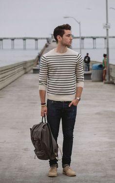 round neck sweater, stripes are nice. dark narrow leg jeans, tan boots.