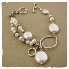 White Pearl Collection Bracelet by J and I Jewelry Beads Jewelry, Jewelry Crafts, Jewelry Art, Jewelery, Jewelry Bracelets, Silver Jewelry, Jewelry Design, Fashion Jewelry, Bangles