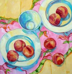 pink and peaches by Beth Munro #floral #botanical #art