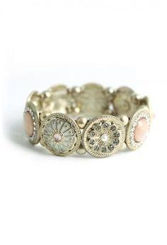 Beads Vintage Gold Plate Jewel Bracelet