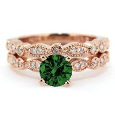 2.00 carat Round Cut Round and Diamond Halo Bridal Set in 10k Rose Gold | Price: $497.99 USD on Shygems