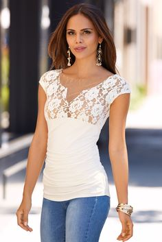White Hot | Women's Off-White Lace Ruched Top by Boston Proper.