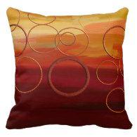 Autumn Crimson Abstract Circles Throw Pillow