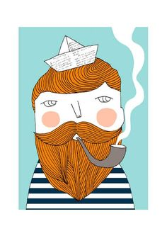 Bearded fisherman  print by depeapa on Etsy