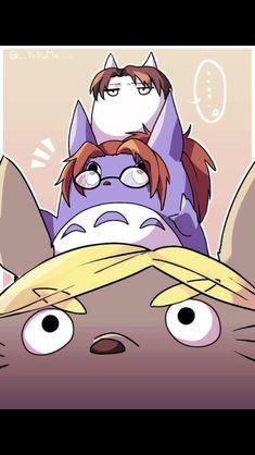 Erwin, Hanji, and Levi as Totoros!! :3 *-* adasadsds di-vi-ne!! shingeki +totoro= mega kawaii desu!! #shingekiNoKiojin #totoro #crosover
