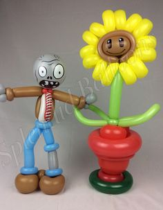 Balloon art, amazing, cool, party, splendid balloons, John Justice, plants vs. zombies, sunflower, zombie, game, video game, app. party ideas