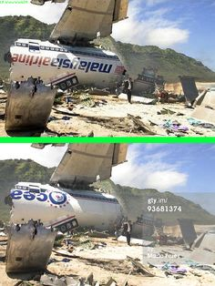 Fake - A doctored photo(top image) from the series LOST is being circulated as an image of downed Malaysian Airlines flight 17.(  http://www.gettyimages.com/detail/news-photo/100440_8158-lost-pilot-news-photo/93681374 ) - The original image is on the bottom.
