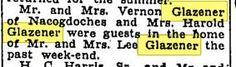 Mr and Mrs Verne & Mrs.Harold Glazener visit Fairfield. (Lee Glazener died in June 1936.) Cors Sun June 8 1936