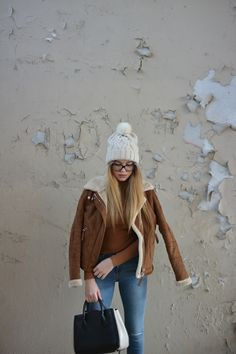 Suede love #fashion #outfit #outfits #beauty #bloggers #priestessofstyle #style #styles #fashionblogger #suede #jeans #jacket #beanie #shoes #bag #glasses #eyewear Eyewear, Winter Hats, Beanie, Backpacks, Glasses, Coat, Leather, Jackets, Bags