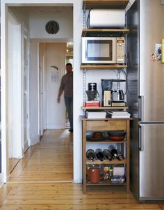 Short on Space? Go Up.  A Great Example of Narrow, Vertical Kitchen Storage   Small Space Living