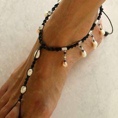 Negro místico sandalia descalzos tobillera blanco y rosa por M0MITA