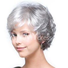 Trendy  Short Side Bang Silver White Mixed Gray Towheaded Curly Synthetic Capless Wig For Women