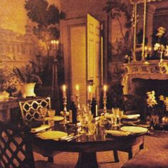 The seductive dining room of the Worthington family at Kingston Russell House, Dorset. #1970sbritishvogue
