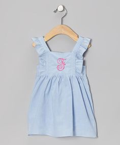 Take a look at this Blue Gingham Initial Pinafore Dress - Infant, Toddler & Girls by Emily Lacey on #zulily today!