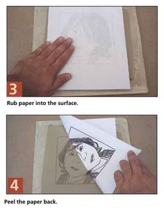 Use an inkjet printer, transfer printed image to wet clay, then trace the ink lines with carving tool.