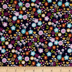 Michael Miller Sweet Emma Flower Drift Midnite from @fabricdotcom  From Michael Miller Fabrics, this cotton print collection features bright florals and geometric prints. Perfect for quilting, apparel, and home decor accents. Colors include shades of blue, mustard, orange, pink, and aqua.