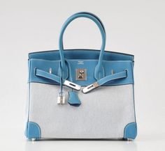 008a45a86b HERMES BIRKIN 30 Bag Toile Blue Jean Togo Leather Palladium