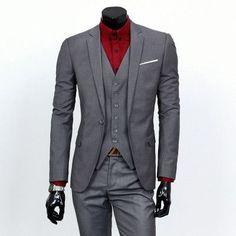 ( jacket + vest + pants ) New spring brand men's slim fit business a three-piece suits / Male good groom dress /men Blazers