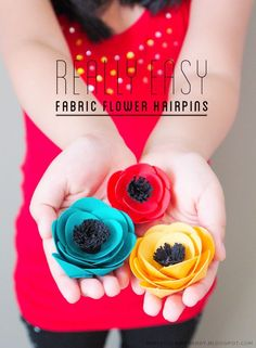 fabric flower hairpins - easy DIY tutorial for you or your little girl