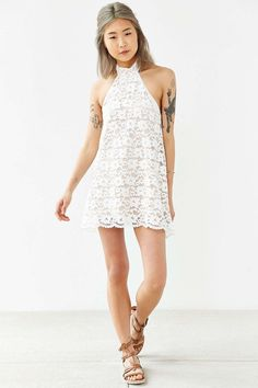 Lovers and Friends Baby Girl Lace Halter Dress - Urban Outfitters
