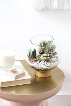 DIY mid century terrarium idea | easy crafts | just use vinyl, a jar lid and a fish bowl | home projects