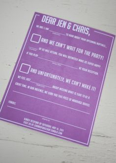 This is a great RSVP card. I like that the guests can contribute to your special day whether or not they're coming!