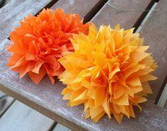 Flowers, Orange, Flower, Paper, Tissue, Pom, Spiked