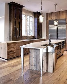 Dream Kitchen Contemporary Chicago Mark Hickman Homes Love The Reclaimed Cabinets And Pendant Lights My Home