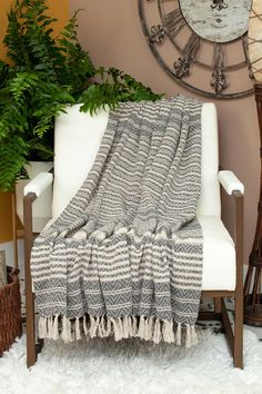 """Parkland Collection Centra Transitional Beige 52"""" x 67"""" Woven Handloom Throw"""
