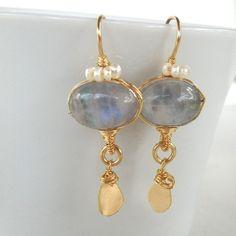 Moonstone Crown Earrings with Freshwater Pearl in by yifatbareket