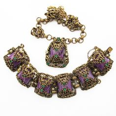 Intricate Baroque Style Vintage Bracelet and Necklace With Purple Stones