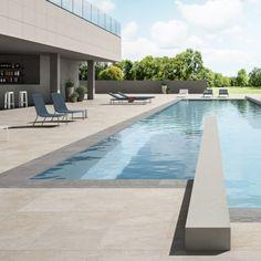 Pool Design. Exterior, Outdoor. Porcelain stoneware tiles stone/wood effect. #modern #design #tiles #pool #miami