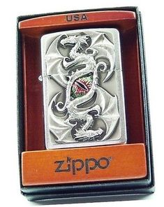 Zippo Lighter, Cigar, Chrome, Retro, Collection, Art, Brushing, Wood Boxes, Dragons