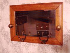 Door Knob Coat Rack Old oak mirror with coat hooks and by mickcut, $79.00