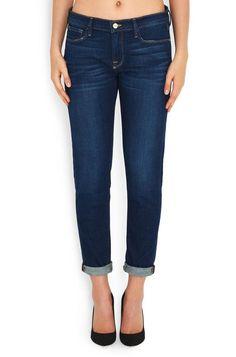 FRAME DENIM Le Garcon MidRise Boyfriend Crop Jeans Pants Manchester Blue 30 $240 #FrameDenim #BoyfriendRelaxed