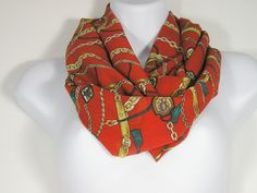 Equestrian Print Infinity Scarf Red Orange Infinity Scarf Silky Infinity Scarf Spring Scarves All Seasons Scarves Womens Scarf  Circle Scarf by…