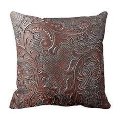 Coffee Brown Tooled Leather Look Print Throw Pillow Leather Pillow, Tooled Leather, Western Living Rooms, Grey And Brown Living Room, Leather Tooling Patterns, African Interior, Leather Furniture, Western Decor, Soft Furnishings