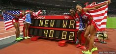 CONGRATULATIONS to Allyson Felix, Bianca Knight, Carmelita Jeter, and Tianna Madison who made records fall tonight. Thanks for bringing USA the gold in the 4x100m for the first time in 27 years.     https://www.facebook.com/USOlympicTeam