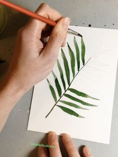 Short Watercolor Palm Leaf Timelapse Short Watercolor Palm Leaf Timelapse KatieIllustrates katieillustrates Plants and Green Things Quick painting video of a simple palm frond leaf nbsp hellip videos walls Watercolor Plants, Watercolor Leaves, Easy Watercolor, Watercolour Tutorials, Watercolour Painting, Painting Leaves Acrylic, Abstract Watercolor Tutorial, Gauche Painting, Watercolor Bookmarks