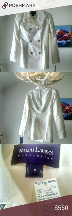 NWT Ralph Lauren 100% silk coat size 8 Gorgeous double-breasted, cream color, linen look100% silk coat. Brand new with tags. Ralph Lauren Jackets & Coats