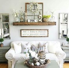 love the spring mantle - Dining Room Wall Decor Ideas Pinterest