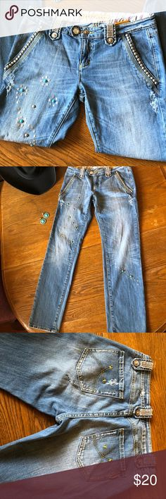 Vigoss Gold Jeans 👖 Like bling-bling these Jeans are for you ✨😄 Rhinestone  Silver and Turquoise studs Used and in good condition  Size: 30 See pictures for measurements Vigoss Gold Jeans Straight Leg