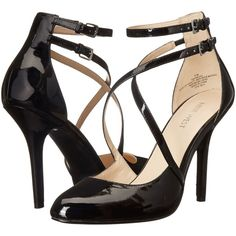 Nine West Inessa (Black Patent Synthetic) High Heels (£48) ❤ liked on Polyvore featuring shoes, sandals, black, high heel sandals, high heel stilettos, black sandals, strap sandals and double buckle sandals
