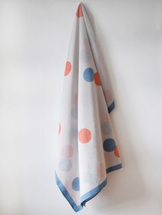 MARINE BLOCK DOUBLE SPOT PRINT, CORAL AND KRISHNA BLUE ON STONE