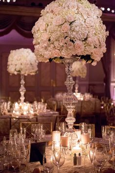 Tall Formal Crystal Centerpieces - http://www.StyleMePretty.com/tri-state-weddings/2014/03/20/classic-nyc-wedding-at-the-pierre/ Photography: Captured Photography By Jenny - capturedbyjen.com on #SMP