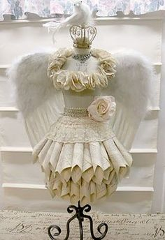 paper dress form with angel wings Mannequin Christmas Tree, Dress Form Christmas Tree, Christmas Trees, Xmas Tree, Paper Art, Paper Crafts, Diy Paper, Shabby Chic, Shabby Cottage