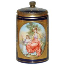Porcelain Royal Vienna Hand Painted Stein 1/4L Inlay lid brass mounts