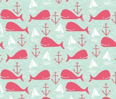 Anchors Away! Whales // pink and green whale nautical fabric cute whales ocean sailbaots custom fabric by andrea_lauren for sale on Spoonflower Beach Fabric, Cute Whales, Fabulous Fabrics, Vector Pattern, Cloth Diapers, Happy Planner, Custom Fabric, Pink And Green, Spoonflower