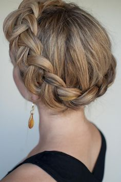 Wedding hair: braided wreath. Credits in comment.