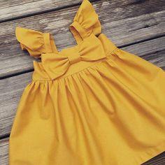 Mustard Flutter sleeves Big bow Dress Girls bow dress Baby